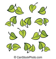 Vector leafs, isolated vector eco green texture