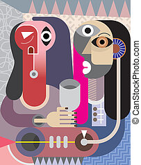 Man and Woman portrait - contemporary fine art vector...