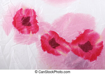 Silk floral crumpled fabric background with red poppies
