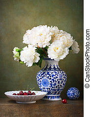 Still life with white peonies in a chinese vase
