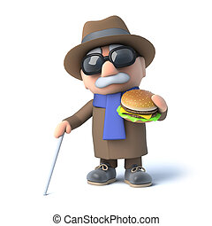 3d Blind man eats a burger - 3d render of a blind man eating...