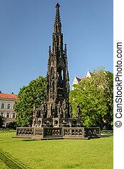 Prague - The Gothic Monument to Emperor Franz I on Smetanova...
