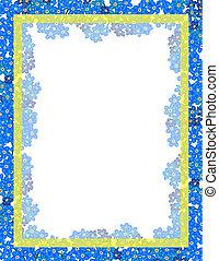 Flower border - Forget-me-not flower vector frame