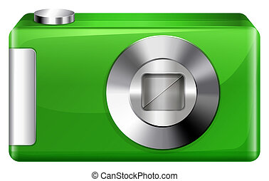 A green digicam - llustration of a green digicam on a white...