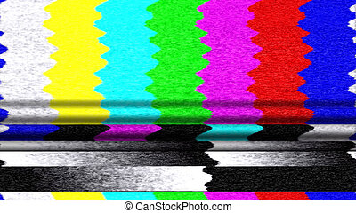TV Color Bars 0213. Retro TV color bars malfunction.