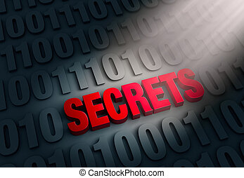 Revealing Computer Secrets - A spotlight illuminates a red...