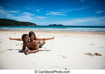 Beautiful Young Latin Couple, love at Ilha Grande, Lopes...