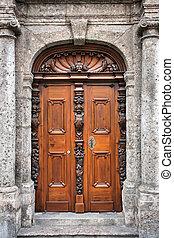 Ornate wooden door