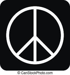 Peace symbol buttom - Peace symbol button on white...