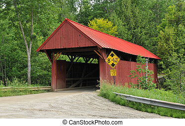 Red Covered Bridge - Red bridge over Sterling Brook in...