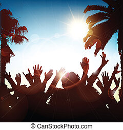 Summer party - Silhouette of a party crowd on a tropical...