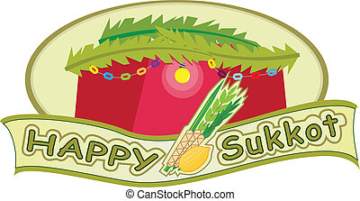 Happy Sukkot - Sukkot banner with sukkah in the background