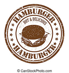 Hamburger stamp - Hamburger grunge rubber stamp on white...