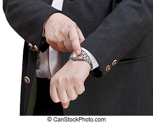 businessman show exact time on wristwatch - hand gesture...
