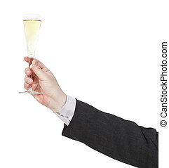 toast with champagne glass in businessman hand isolated on...