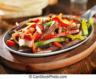 mexicano, carne de vaca, Fajitas, hierro, Sartén,...