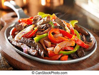 Empañado, caliente, mexicano, carne de vaca, Fajitas