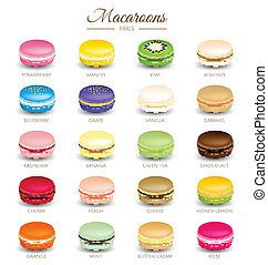 Colorful macaroons flavors vector