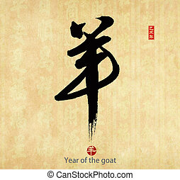 2015 is year of the goat,Chinese calligraphy yang....