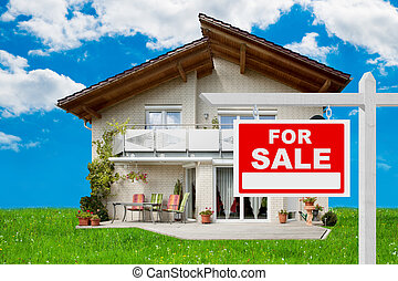 For Sale Sign In Front Of House - For sale sign in front of...