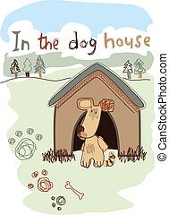 In the dog house embroidery illustration .