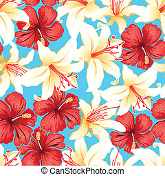 Red, white and yellow tropical hibiscus flowers seamless...