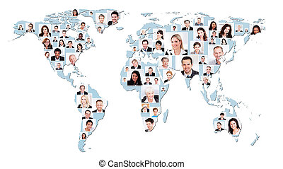 Multiethnic Business People On World Map - Collage of...