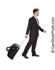 Businessman With Luggage Walking Over White Background -...