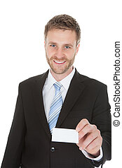 Happy Businessman Holding Visiting Card - Portrait of happy...