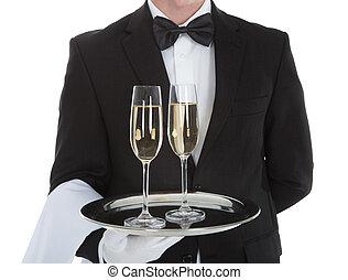 camarero, proceso de llevar, bandeja, champaña, Flautas