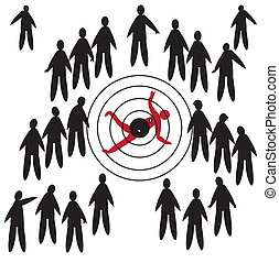 Target - Illustration of a crowd and a one man shot down,...