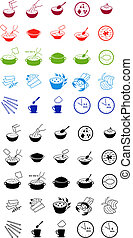 Fast food cooking process icons