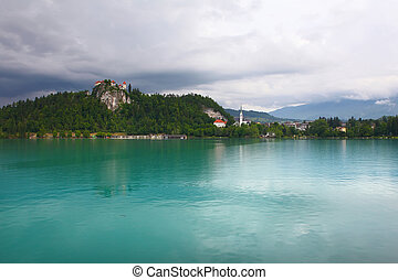 BLED, SLOVENIA - Medieval castle on top of a hill in Bled...