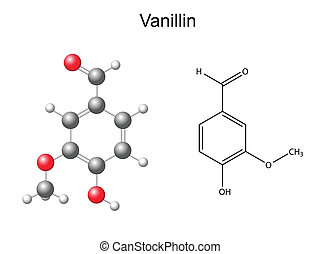 Vanillin molecule - Chemical formula and model of vanillin...