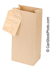 Paper bag with a label