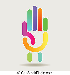 Colorful Hand graphic for Print or Web