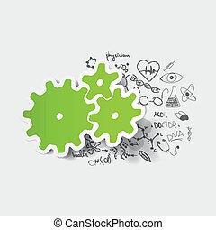 teckning, medicinsk, formulas:, kugghjul