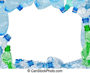 Frame of used plastic bottles