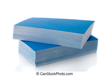 Pile of blue business cards, isolated on white background,...