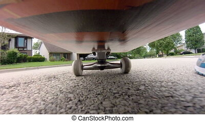 Skateboard Point of View - POV shot from under a skateboard...