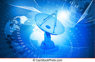 3d Satellite dish transmission data on abstract background