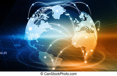 Futuristic background of Global business network, internet,...