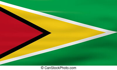Waving Guyana Flag, ready for seamless loop.