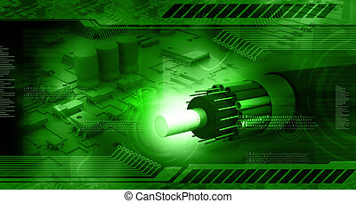 Technology background, circuit board with optic fiber cable