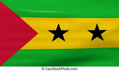 Waving Sao Tome and Principe Flag, ready for seamless loop