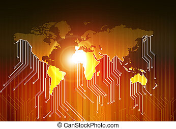 World map and high tech circuit board , abstract technology...