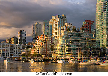Vancouver - view from Granville Island at downtown condos -...