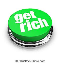 zdobywać, bogaty, -, zielony, guzik