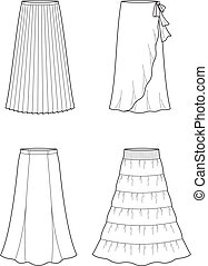 Skirt - Vector illustration of women's long skirt
