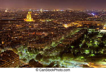 Night view of Paris skyline with the Church at the Invalides...